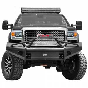 Fab Fours - Fab Fours GM14-Q3162-1 Black Steel Elite Smooth Front Bumper with Pre-Runner Guard for GMC Sierra 2500/3500 2015-2019