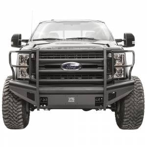 Fab Fours - Fab Fours FS17-Q4160-1 Black Steel Elite Smooth Front Bumper with Full Guard for Ford F250/F350/F450/F550 2017-2021