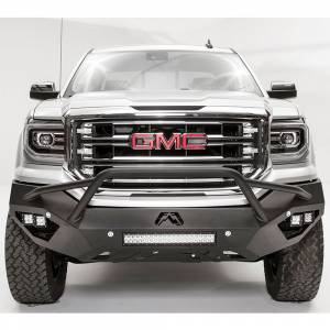 Fab Fours - Fab Fours GS16-D3952-1 Vengeance Front Bumper with Pre-Runner Guard and Sensor Holes for GMC Sierra 1500 2016-2018