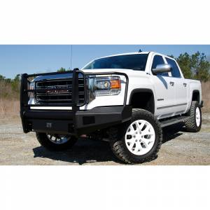 Fab Fours - Fab Fours GS14-R3160-1 Black Steel Elite Smooth Front Bumper with Full Guard for GMC Sierra 1500 2014-2015