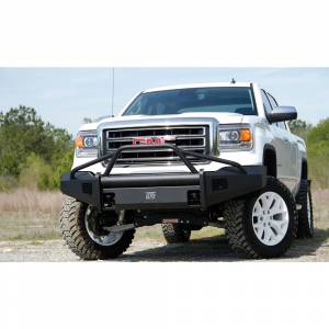 Fab Fours - Fab Fours GS14-R3162-1 Black Steel Elite Smooth Front Bumper Pre-Runner Guard for GMC Sierra 1500 2014-2015