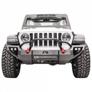 Shop Bumpers By Vehicle - Jeep Gladiator JT - Fab Fours - Fab Fours JL18-D4652-1 Vengeance Front Bumper with Pre-Runner Guard and Sensor Holes for Jeep Gladiator JT 2018-2020