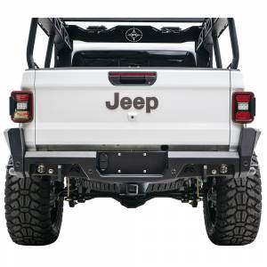 Shop Bumpers By Vehicle - Jeep Gladiator JT - Fab Fours - Fab Fours JT20-Y1950-1 Rear Bumper with Sensor Holes for Jeep Gladiator JT 2020