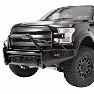 Fab Fours - Fab Fours FF09-K1962-1 Black Steel Front Bumper with Pre-Runner Guard for Ford F150 2009-2014