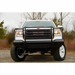 Fab Fours - Fab Fours GM07-K2160-1 Black Steel Front Bumper with Full Grille Guard for GMC Sierra 1500 2007-2013 - Image 2