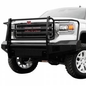 Fab Fours - Fab Fours GS14-K3160-1 Black Steel Front Bumper with Full Grille Guard for GMC Sierra 1500 2014-2015