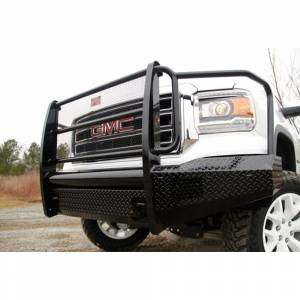 Fab Fours - Fab Fours GS14-K3160-1 Black Steel Front Bumper with Full Grille Guard for GMC Sierra 1500 2014-2015 - Image 2