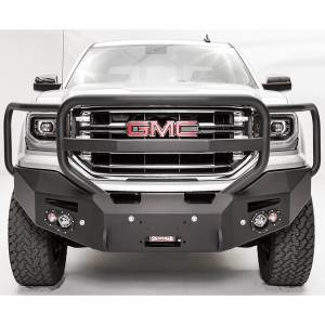 Fab Fours - Fab Fours GS16-F3950-1 Premium Winch Front Bumper with Full Guard and Sensor Holes for GMC Sierra 1500 2016-2018