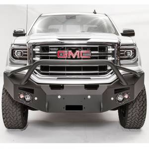 Fab Fours - Fab Fours GS16-F3952-1 Premium Winch Front Bumper with Pre-Runner Guard and Sensor Holes for GMC Sierra 1500 2016-2018