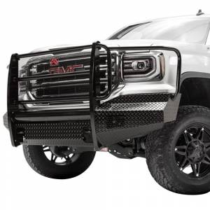 Fab Fours - Fab Fours GS16-K3960-1 Black Steel Front Bumper with Full Grille Guard for GMC Sierra 1500 2016-2018