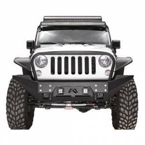 Jeep Wrangler JK - Fab Fours - Fab Fours JK07-B1856-1 FMJ Stubby Winch Front Bumper with Full Guard for Jeep Wrangler JK 2007-2018