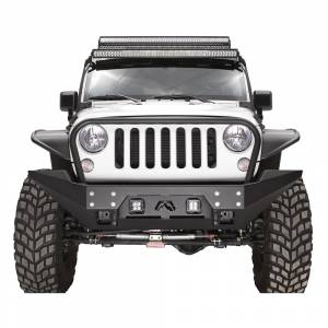 Jeep Bumpers - Fab Fours - Fab Fours - Fab Fours JK07-B1856-1 FMJ Stubby Winch Front Bumper with Full Guard for Jeep Wrangler JK 2007-2018
