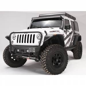 Fab Fours - Fab Fours JK07-B1856-1 FMJ Stubby Winch Front Bumper with Full Guard for Jeep Wrangler JK 2007-2018 - Image 2