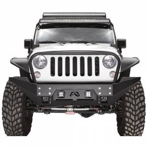 Jeep Wrangler JK - Fab Fours - Fab Fours JK07-B1858-1 FMJ Full Width Winch Front Bumper with Full Guard for Jeep Wrangler JK 2007-2018