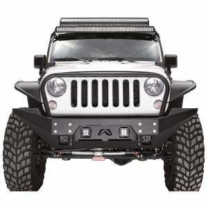 Shop Bumpers By Vehicle - Jeep Wrangler JK - Fab Fours - Fab Fours JK07-B1858-1 FMJ Full Width Winch Front Bumper with Full Guard for Jeep Wrangler JK 2007-2018