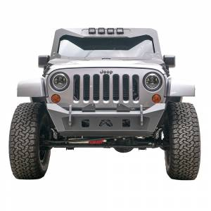 Jeep Bumpers - Fab Fours - Fab Fours - Fab Fours JK07-B1951-1 Stubby Winch Front Bumper for Jeep Wrangler JK 2007-2018