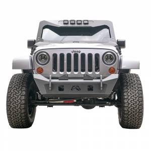 Jeep Wrangler JK - Fab Fours - Fab Fours JK07-B1951-1 Stubby Winch Front Bumper for Jeep Wrangler JK 2007-2018