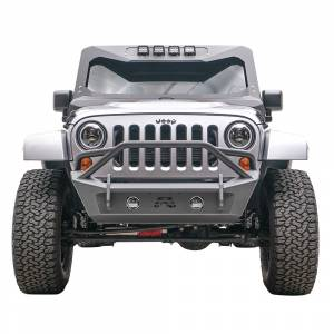 Jeep Bumpers - Fab Fours - Fab Fours - Fab Fours JK07-B1952-1 Stubby Winch Front Bumper with Pre-Runner Guard for Jeep Wrangler JK 2007-2018