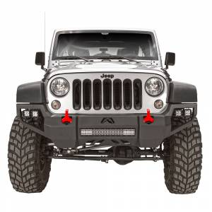 Jeep Wrangler JK - Fab Fours - Fab Fours JK07-D1851-1 Vengeance Front Bumper with Sensor Holes for Jeep Wrangler JK 2007-2018