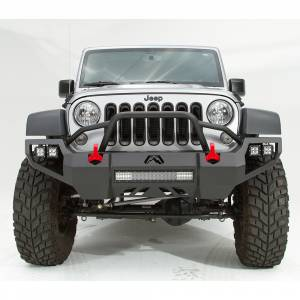 Jeep Bumpers - Fab Fours - Fab Fours - Fab Fours JK07-D1852-1 Vengeance Front Bumper with Pre-Runner Guard and Sensor Holes for Jeep Wrangler JK 2007-2018