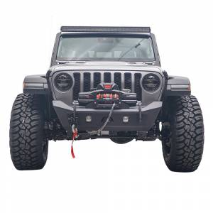 Jeep Bumpers - Fab Fours - Fab Fours - Fab Fours JL18-B4751-1 Stubby Winch Front Bumper for Jeep Wrangler JL 2018-2020 and Jeep Gladiator 2020