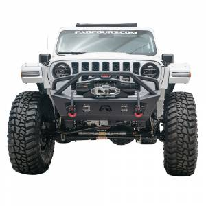 Shop Bumpers By Vehicle - Jeep Gladiator JT - Fab Fours - Fab Fours JL18-B4752-1 Stubby Winch Front Bumper with Pre-Runner Guard for Jeep Wrangler JL 2018-2020 and Jeep Gladiator 2020
