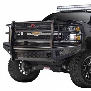 Fab Fours - Fab Fours CH08-S2060-1 Black Steel Front Bumper with Grille Guard for Chevy Silverado 2500/3500 2007-2010