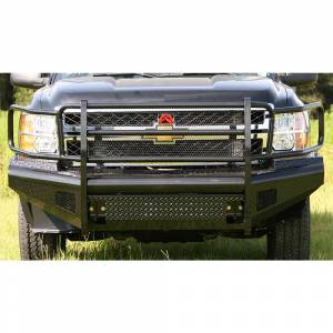 Fab Fours - Fab Fours CH11-S2760-1 Black Steel Front Bumper with Grille Guard for Chevy Silverado 2500/3500 2011-2014