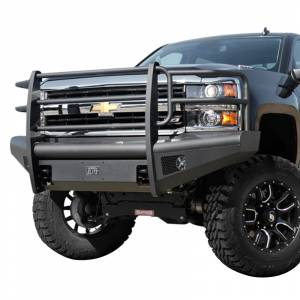 Fab Fours - Fab Fours CH05-Q1360-1 Black Steel Elite Smooth Front Bumper with Grille Guard for Chevy Silverado 2500/3500 2003-2006 - Image 2