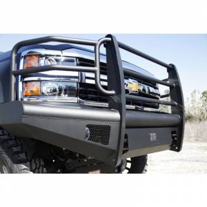 Fab Fours - Fab Fours CH08-Q2060-1 Black Steel Elite Smooth Front Bumper with Grille Guard for Chevy Silverado 2500HD/3500 2007-2010 - Image 4