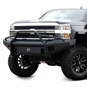 Fab Fours - Fab Fours CH08-Q2062-1 Black Steel Elite Smooth Front Bumper with Pre-Runner Guard for Chevy Silverado 2500/3500 2007-2010 - Image 3