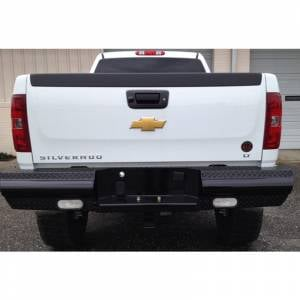 Fab Fours Black Steel - Rear Bumpers - Fab Fours - Fab Fours CH08-T1450-1 Black Steel Rear Bumper for Chevy Silverado 2500/3500 2007-2010