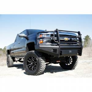Fab Fours - Fab Fours CH14-Q3060-1 Black Steel Elite Smooth Front Bumper with Grille Guard for Chevy Silverado 2500/3500 2015-2019 - Image 4