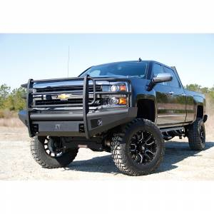 Fab Fours - Fab Fours CH14-Q3060-1 Black Steel Elite Smooth Front Bumper with Grille Guard for Chevy Silverado 2500/3500 2015-2019 - Image 5
