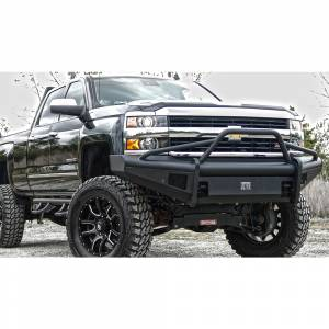 Fab Fours - Fab Fours CH14-Q3062-1 Black Steel Elite Smooth Front Bumper Pre-Runner Guard for Chevy Silverado 2500/3500 2015-2019 - Image 2