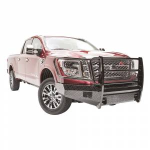 Fab Fours - Fab Fours NT16-K3760-1 Black Steel Front Bumper with Grille Guard for Nissan Titan XD 2016-2019