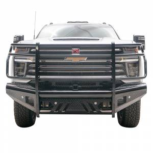 Fab Fours - Fab Fours CH20-S4960-1 Black Steel Front Bumper with Grille Guard for Chevy Silverado 2500/3500 2020-2021