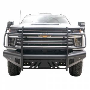 Fab Fours - Fab Fours CH20-Q4960-1 Black Steel Elite Smooth Front Bumper with Grille Guard for Chevy Silverado 2500/3500 2020-2021