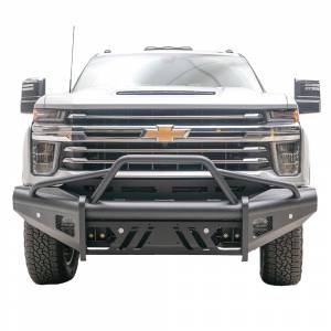 Fab Fours - Fab Fours CH20-Q4962-1 Black Steel Elite Smooth Front Bumper with Pre-Runner Guard for Chevy Silverado 2500/3500 2020-2021