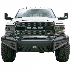 Fab Fours - Fab Fours DR19-Q4462-1 Black Steel Elite Smooth Front Bumper with Pre-Runner Guard for Dodge Ram 2500/3500 2019-2021