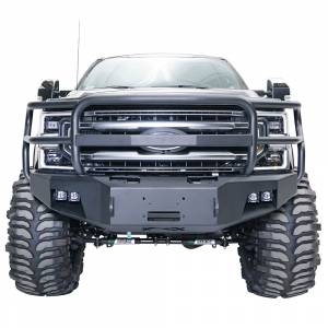 Fab Fours - Fab Fours FS17-A4160-1 Winch Front Bumper with Grille Guard for Ford F250/F350 2017-2021
