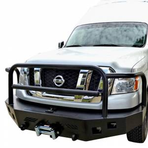 Van Bumpers - Nissan NV - Aluminess - Aluminess 210283 Slimline Front Bumper with Bull Bar for Nissan NV 2011-2018