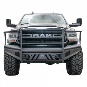 Fab Fours - Fab Fours DR19-Q4460-1 Black Steel Elite Front Bumper with Full Grill Guard for Dodge Ram 2500/3500 2019-2021