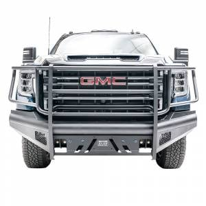 Fab Fours - Fab Fours GM20-Q5060-1 Black Steel Elite Front Bumper with Full Grill Guard for GMC Sierra 2500/3500 2020-2021