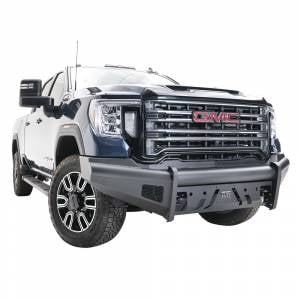 Fab Fours - Fab Fours GM20-Q5061-1 Black Steel Elite Front Bumper with No Guard for GMC Sierra 2500/3500 2020-2021