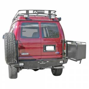 Aluminess - Aluminess 210005.4 Rear Bumper with Brush Guard and Swing Arm (8x170 Bolt Pattern) for Ford Econoline Van 1992-2014