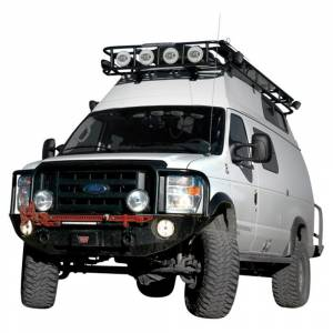 Aluminess - Aluminess 210048.2 Front Bumper with Brush Guard and Square Light Holes for Ford Econoline Van 2008-2014