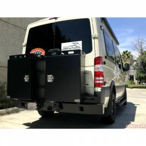 Van Bumpers - Mercedes Sprinter Vans - Aluminess - Aluminess 210288.2 Rear Bumper with Hitch and Swing Arm - Dual Rear Wheel for Mercedes Sprinter 2007-2018