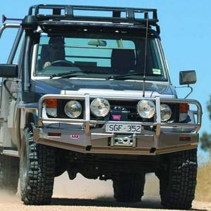 Shop Bumpers By Vehicle - Toyota Land Cruiser - ARB 4x4 Accessories - ARB 3412130 Deluxe Winch Front Bumper with Bull Bar for Toyota Land Cruiser 1985-1989