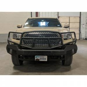 Truck Bumpers - Ranch Hand Midnight Series - Ranch Hand - Ranch Hand MFT16MBM1 Midnight Front Bumper with Grille Guard for Toyota Tacoma 2016-2021
